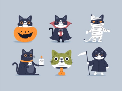 Helloween cats pet sticker badges cute design cat character funny illustration vector