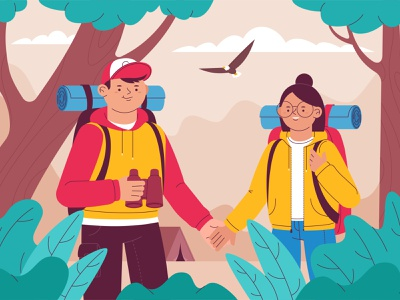Tourism people forest tourism travel woman man character illustration vector