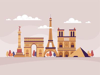 City landmarks landscape town paris london city design illustration vector