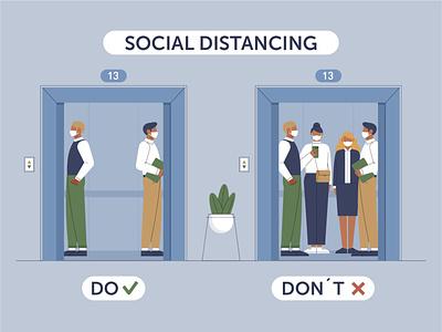 Social distance women management womans woman epidemic people social distancing social distance elevator man design character illustration vector