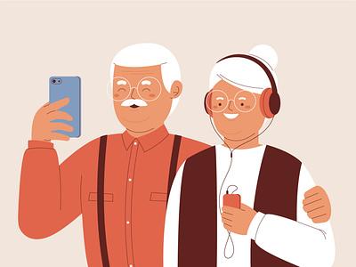 Seniors using technology digital art digital phone tecnology seniors cute funny character illustration vector