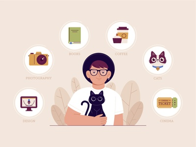 About me coffee about me book pet badges icon cute design cat character funny illustration vector man