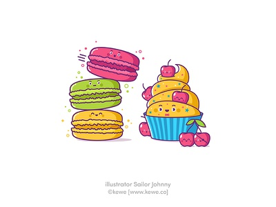Funny sweet food stickers illustration funny vector birthday characters cupcake cake sweet food cherry