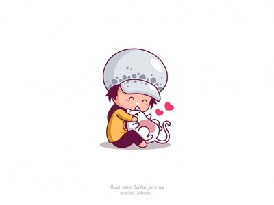 Trafalgar, Law fanart animal cute cat funny illustration vector character design chibi anime