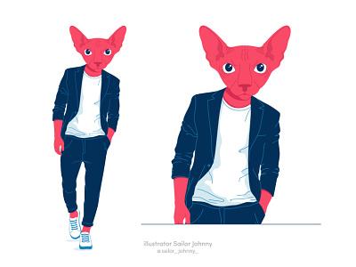 Cat sphinx businessman pet illustration design character cat