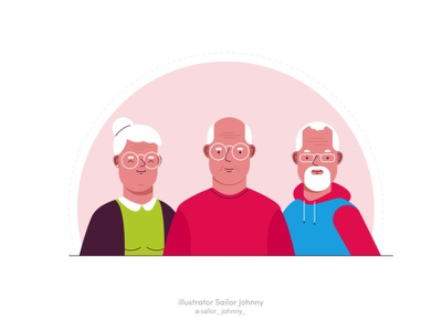 """For """"Bayer"""" illustration people character 2d digital vectorart vector grandfather grandmother woma man"""