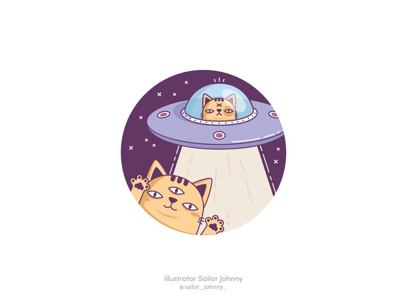 UFOcat illustration art 2d digital 2d digital animals stickers badges pet sticker design cute character cat funny illustration vector