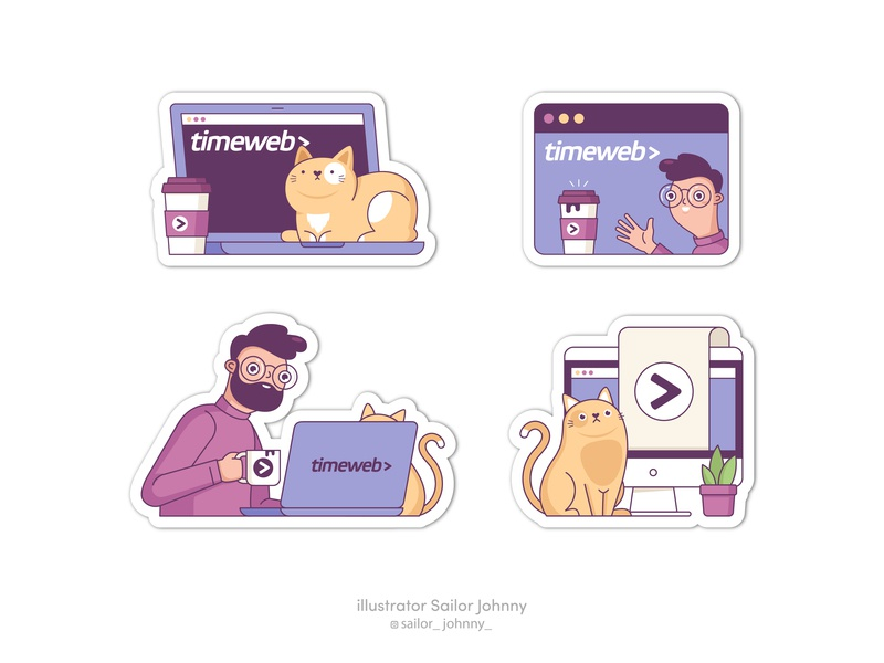 Stickers for TimeWeb color character pet work web badges digital cartoon cute internet it man vector illustration stickers cat