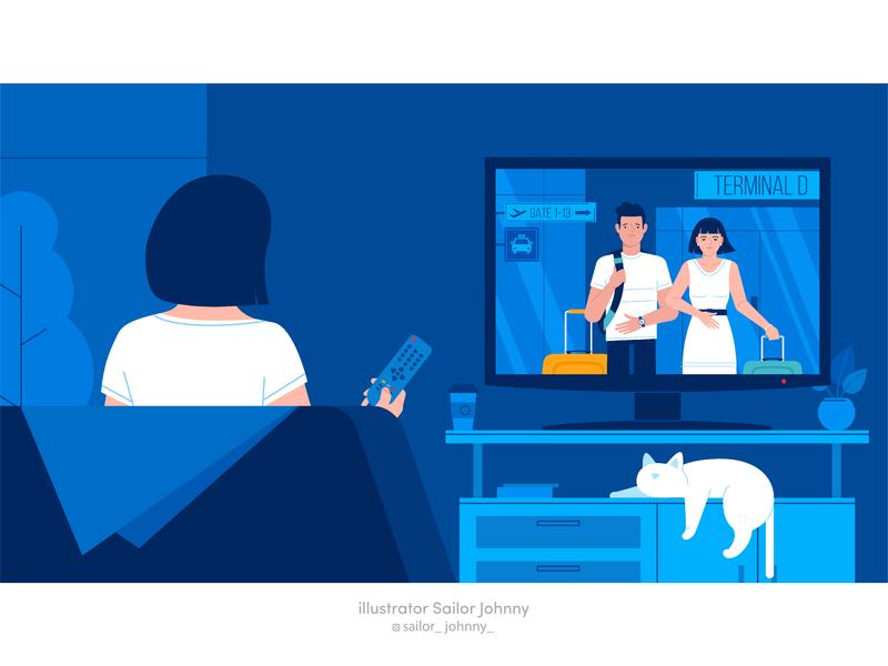 Illustration for animation home design tv cat women woman character illustration vector