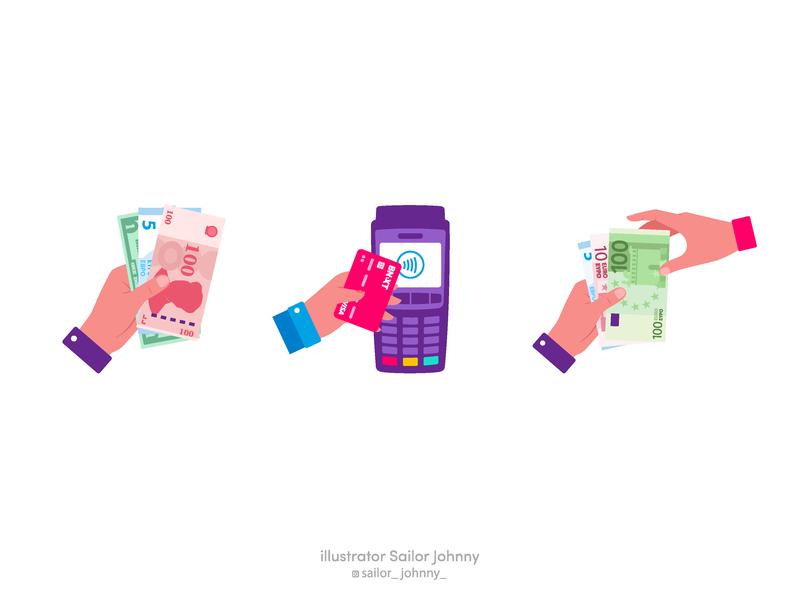 "Badges for app ""Bnext"" pay cash phone app phone money card hand app ui sticker badges icon design illustration vector"