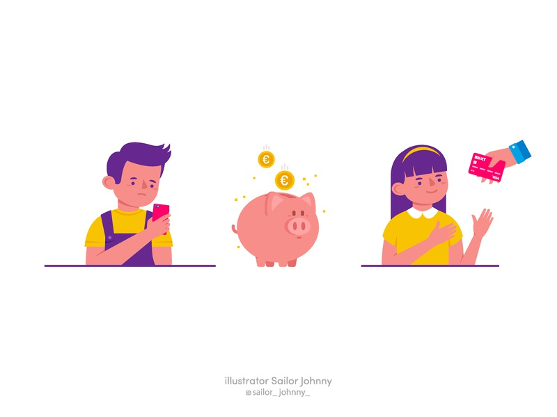"""Badges for app """"Bnext"""" phone phone app money card pay boy girl app ui pet sticker badges icon design character funny illustration vector"""
