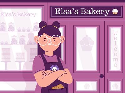Elsa´s bakery cake women phone robot hand vespa digitalart bakery shop sweet woman girl stickers sticker badges design character funny illustration vector