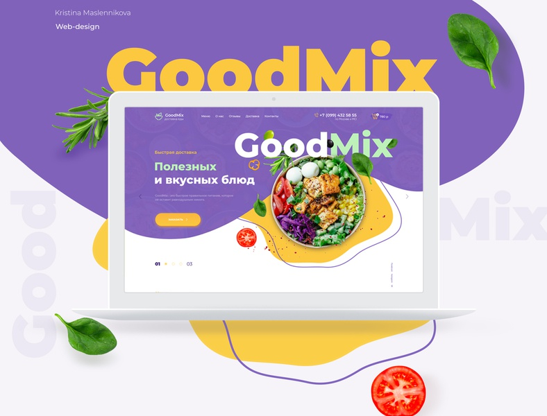Landing page. Delivery healthy food mix colors healthy food ui webdesign website web design