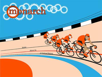 Monarch Website illustration bikes velodrome web