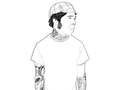 Self Portrait black and white digital illustration illustration