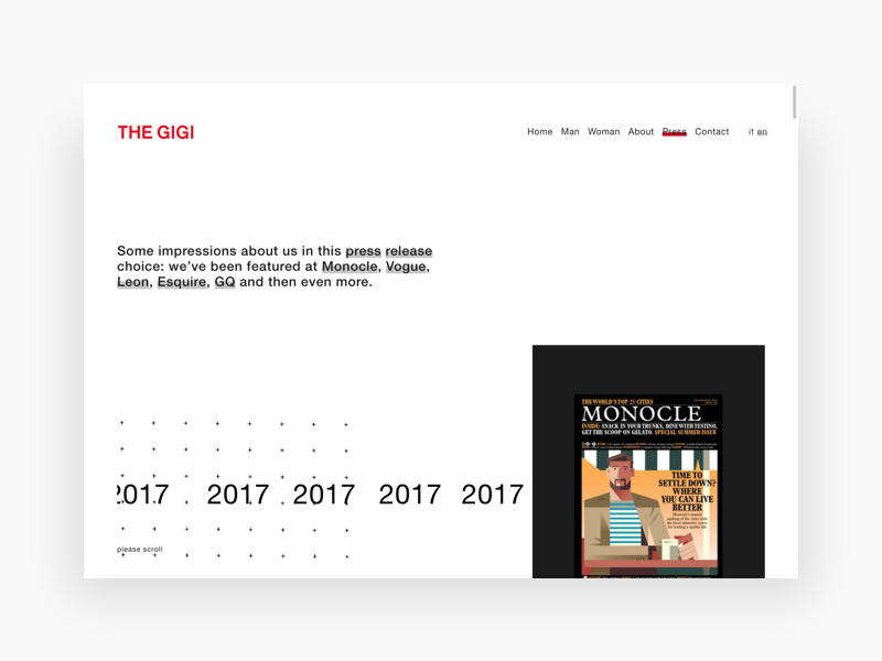 The Gigi web design ux ui minimal flat gif digital design dailyui animation clean white