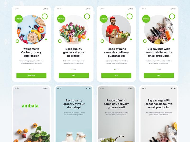 Ambala - Grocery Shop Mobile App mobile app design ios app design flat illustration branding ux design app