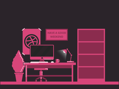 Have a good weekend! product design pink mac dribbble ui ux illustration