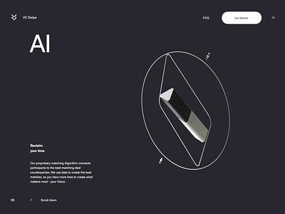 VC Swipe  - AI illustration website ux ui transition minimal designs animation 3d animation