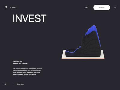 VC Swipe - Invest minimal app branding website illustration ux ui transition animation 3d animation