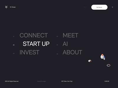 VC SWIPE - Menu branding website illustration ui designs ux transition minimal animation 3d animation