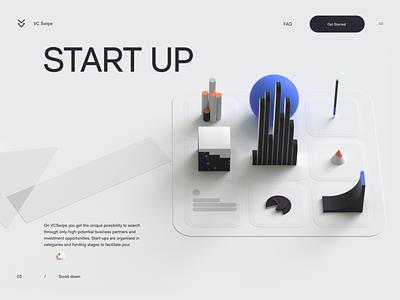 VC Swipe - Startup branding website illustration ui designs ux transition minimal animation 3d animation