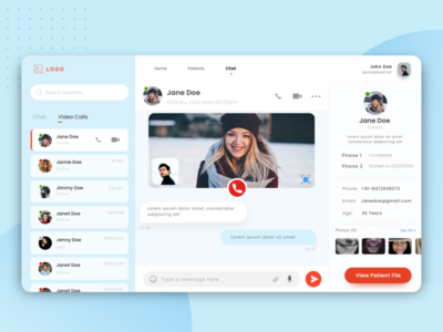 Chat screen for doctor dashboard chat dashbaord app design adobe xd