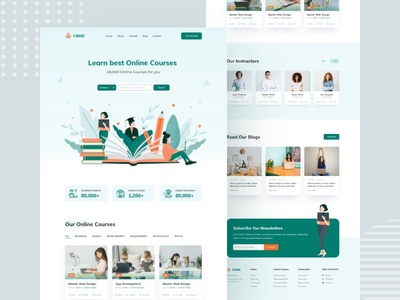 Website Design illustration branding responsive design landing page website design online courses best learn