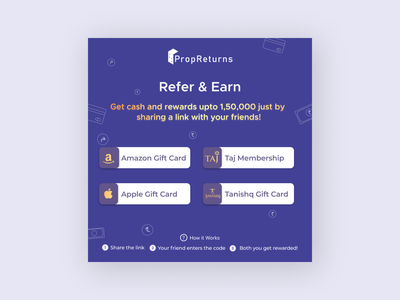 Refer & Earn - Social Media Post typography icon card ui branding flat clean design vector illustration logo