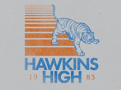 Hawkins High design texture vintage high school nextflix stranger things hawkins tiger the 80s