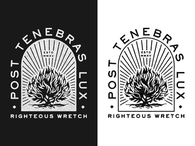 Post Tenebras Lux vintage badge lock-up type diamond line bush burning grit texture t-shirt typography