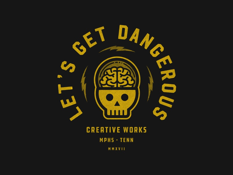 Let's Get Dangerous texture halftones bolt lightning tennessee creative works typography skull memphis charity