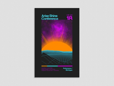 Arise Shine Poster conference church colorful printing screen typography lines grid poster