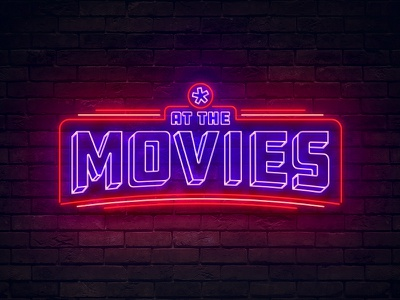 At The Movies Logo radiant church sign vintage movies neon typography type badge logo
