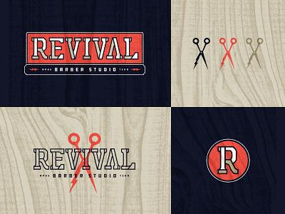 Revival Barber Studio design vintage vector badge illustration line work typography mark icon texture logo barbershop memphis
