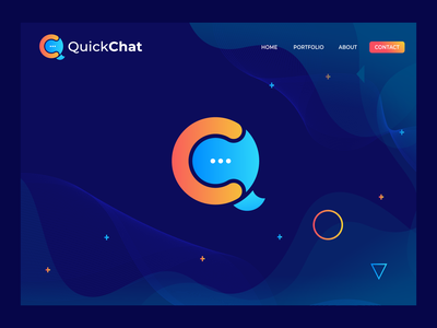 QuickChat Logo Design | (Q+C) Letter Mark gradient logo modernism creative logotype chatting chat logo qc modern qc abstract abstract brand identity logo design branding design modern logo qc typography