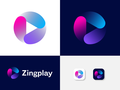 Zingplay Logo Design Exploration icon symbol logo mark app logo branding logo brand identity abstract logo stream logo arrow play arrow modern logo play logo