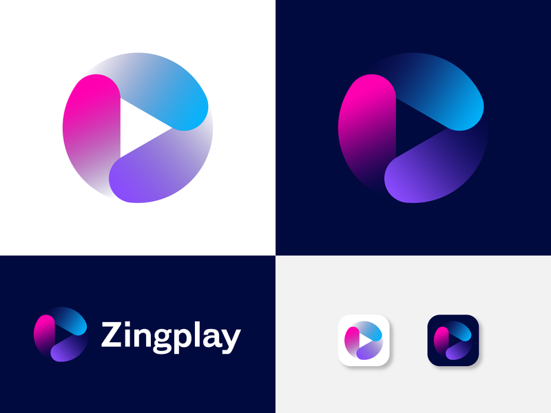 Zingplay Logo Design Exploration icon symbol logo mark app logo branding logo brand identity abstract logo stream logo arrow play arrow modern logo play logo
