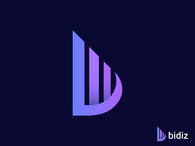 bidiz logo design | b letter mark alphabet bid b icon b logo letter b lettering logotype 3d app abstract typography brand identity branding logo icon creative design modern logo logo logo designer modern