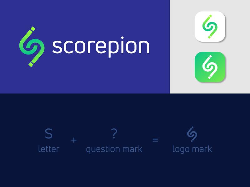 Scorepion APP Logo question mark logo letter mark icon creative logo logo mark branding design logo design typography modern logo brand identity branding and identity score score logo app logo branding logo