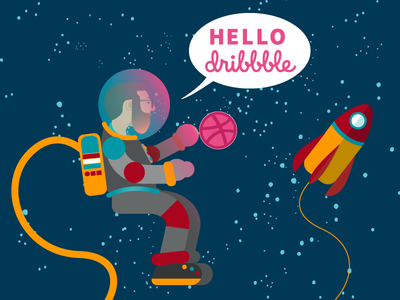 Hello! debut space portrait vector illustration