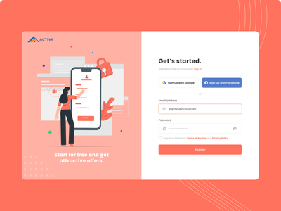 Daily UI - Activa Sign Up Page web website uiux orange dailyuichallenge sign in register login sign up