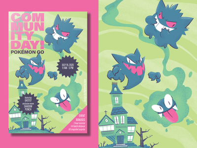 A Very Gastly Community Day poster halloween spooky haunted houses gengar gastly pokemon illustration