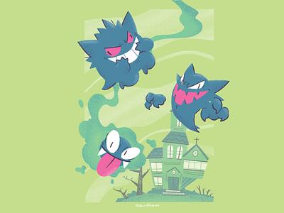 Ghoulie Ghost Gang creepy spooky ghost nintendo illustration pokemon haunted houses halloween gengar gastly