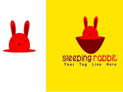 Sleeping Rabbit Logo Design sans serif sale sleepy rabbit coffie coffeeshop brand identity branding logo designer sleeping beauty sleeping cat sleeping sleeping bag