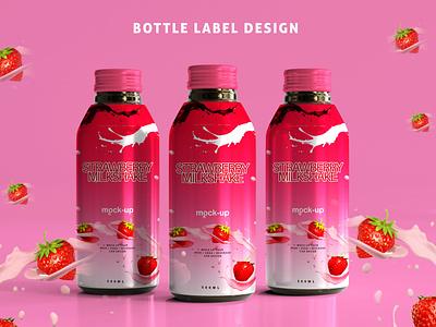 Bottle label Design pancaking label product label branding animation 3d motion graphics logo design logo graphic design ui water label juce bottle milk strawberry packing label label design bottle label design