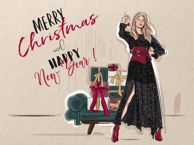 Fashion Christmas illustration christmas card gift card fashion sketch fashion illustration vector illustration