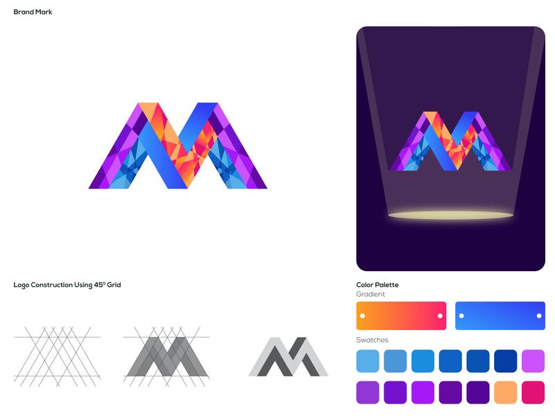 M Letter Logo icon vector type logo illustration flat design typography minimal branding