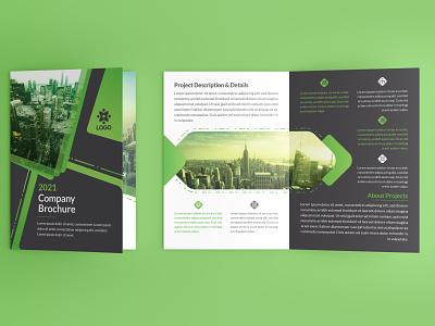 Corporate Green 16 Page Bi fold Brochure vector branding minimal illustration design green vector corporate identity bifold brochure
