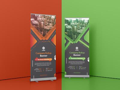 Corporate Red & Green Roll up stand banner logo vector branding minimal illustration design graphic design xbanner stand banner rollup